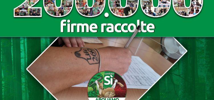 RACCOLTA FIRME REFERENDUM PER L'ABOLIZIONE DELLA CACCIA